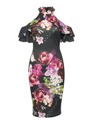 Jessica Wright Longsleeve Highneck Coldshoulder Floral Dress Multi Coloured Multi Coloured