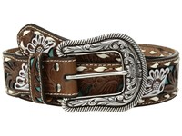 Mandf Western Turquoise Floral Overlay With Lace Edge Belt Tan Belts