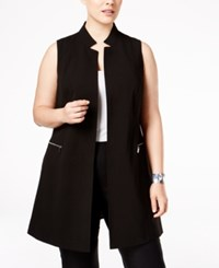 Calvin Klein Plus Size Zip Trim Long Military Vest Black