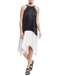 Urban Zen Sleeveless Colorblock Silk Tunic Dress Black White