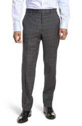 Jb Britches Big And Tall Flat Front Plaid Wool Trousers Mid Grey