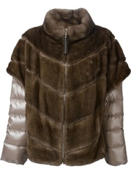 Liska Layered Padded Fur Jacket Brown