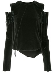 Song For The Mute Cut Out Shoulder Top Grey