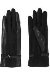 Agnelle Leather Trimmed Wool Blend Gloves Black