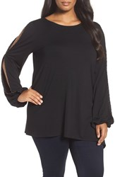 Vince Camuto Plus Size Women's Beaded Slit Sleeve Asymmetrical Top Rich Black