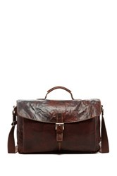 Jack Georges Voyager Slim Buffalo Leather Flapover Messenger Bag Brown