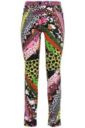 Versace Woman Cropped Printed Cotton Blend Slim Leg Pants Multicolor