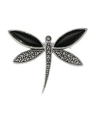 Lord And Taylor Marcasite Stone Onyx Dragonfly Brooch Black Silver