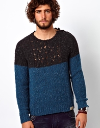 Diesel Crew Knit K Indiano Colour Block Greyteal