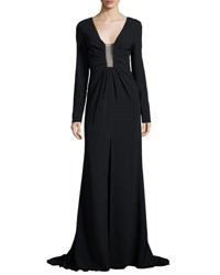 Thakoon Long Sleeve Sheer Inset Gown Black Mult