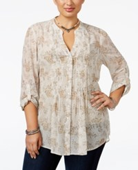 American Rag Trendy Plus Size Floral Print Blouse Only At Macy's Oatmeal Combo