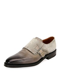 Bally Balbin Leather Injected Sole Monk Strap Shoes Gray
