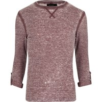 River Island Dark Red Burnout Waffle Long Sleeve Top