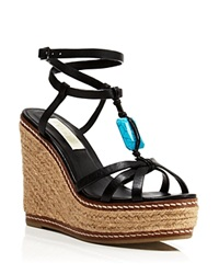 Lauren Ralph Lauren Open Toe Platform Wedge Espadrille Sandals Shana Jeweled Black