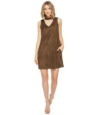 Brigitte Bailey Joline Sleeveless Micro Suede Dress Olive Women's Dress