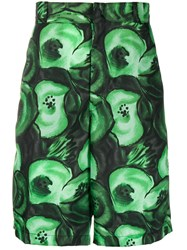 Prada Printed Bermuda Shorts Green