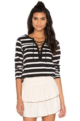 Maison Scotch Lace Up Striped Long Sleeve Tee Black