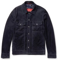 Isaia Suede Shirt Jacket Navy