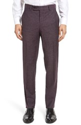 Ted Baker Men's London Jerome Flat Front Solid Wool And Cotton Trousers Burgundy