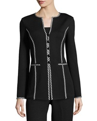St. John Striped Trim Button Front Jacket Black White