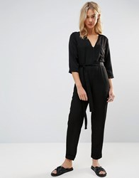 Neon Rose Relaxed Jumpsuit Black