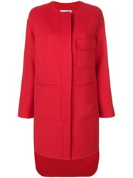 Pringle Of Scotland Single Breasted Coat Wool Red