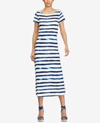 Polo Ralph Lauren Striped Cap Sleeve Maxidress Indigo