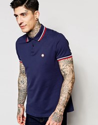 Pretty Green Polo Shirt With Tipping In Navy Navy