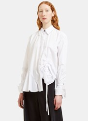Preen Abe Ruched Detail Chain Collared Shirt White