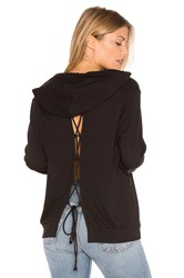 Lanston Lace Up Back Hoodie Black