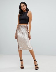 Lipsy Sequin Embellished Midi Skirt In Gold Gold