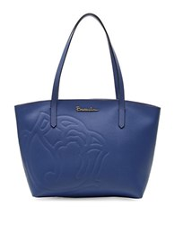 Braccialini Ninfea Leather Tote Blue