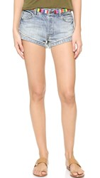 Free People Eliot Embroidered Shorts Vibe Blue