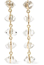 Melissa Joy Manning 14 Karat Gold Herkimer Diamond Earrings One Size