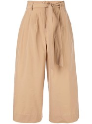 Co Wide Leg Cropped Trousers Brown