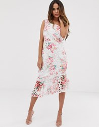 Lipsy One Shoulder Printed Lace Midi Dress With Flippy Hem In Floral Print Multi
