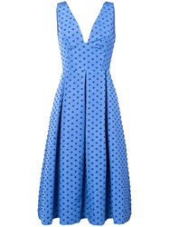 Lela Rose Box Pleated Dots Dress Women Silk 4 Blue