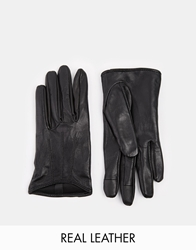 Asos Leather Gloves With Touch Screen Detail Black