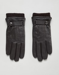 Dents Henley Leather Touchscreen Gloves Brown