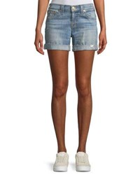 True Religion Jayde Mid Rise Denim Shorts Medium Blue