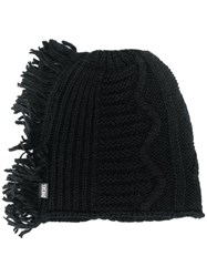 Diesel Fringed Knitted Hat Black