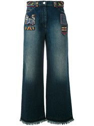 Valentino Bead Patch Wide Leg Jeans Women Cotton Polyester Metallic Fibre Polyimide 28 Blue