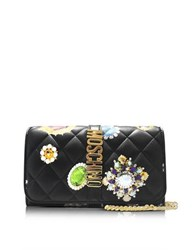 Moschino Black Printed Nappa Wallet W Chain