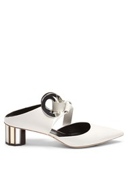 Proenza Schouler Front Tie Block Heel Leather Sandals White