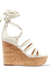 Tamara Mellon Yosemite Leather And Cork Wedge Sandals Off White