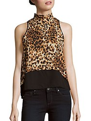 Romeo And Juliet Couture Sleeveless Mockneck Top Brown Multi