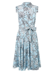 Hobbs Silk Polencia Dress Barely Blue Ivory