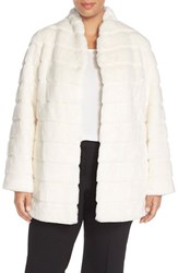 Plus Size Women's Ellen Tracy Grooved Faux Fur Coat White