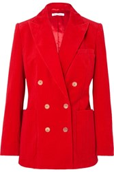 Bella Freud Bianca Double Breasted Cotton Corduroy Blazer Red