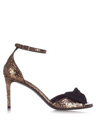 Saint Laurent Jane Bow Detail Glitter Sandals Black Multi